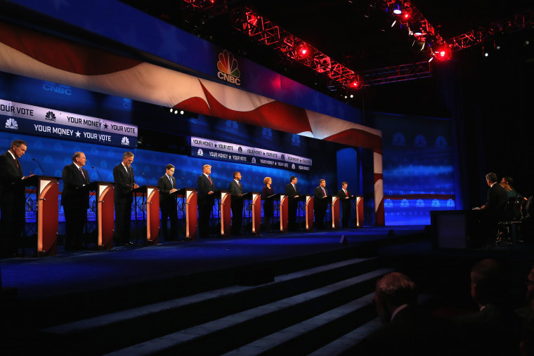 Presidential candidates take the stage at the CNBC Republican Presidential Debate at University of Colorado's Coors Events Center Oct. 28, 2015 in Boulder, Colo. (Photo by Justin Sullivan/Getty)