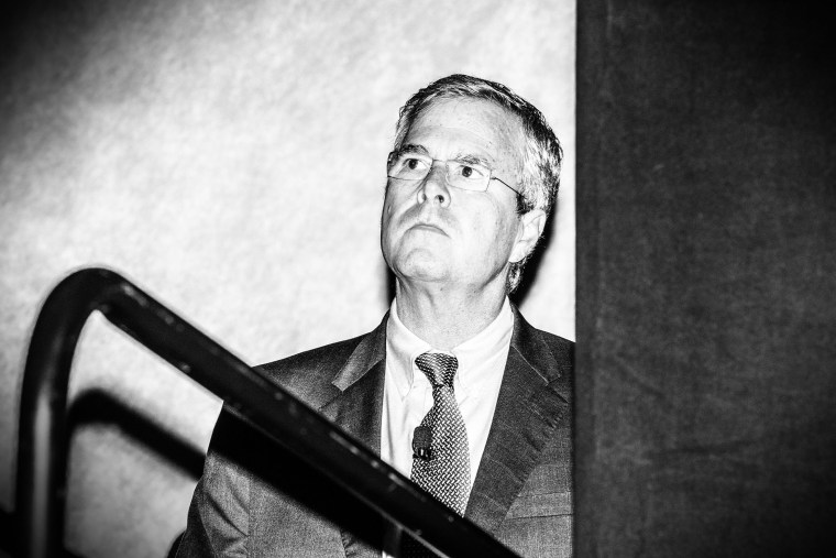 Republican presidential candidate Jeb Bush waits to speak at the RedState Gathering in Atlanta, Ga., on Aug. 8, 2015. (Photo by Mark Peterson/Redux for MSNBC)