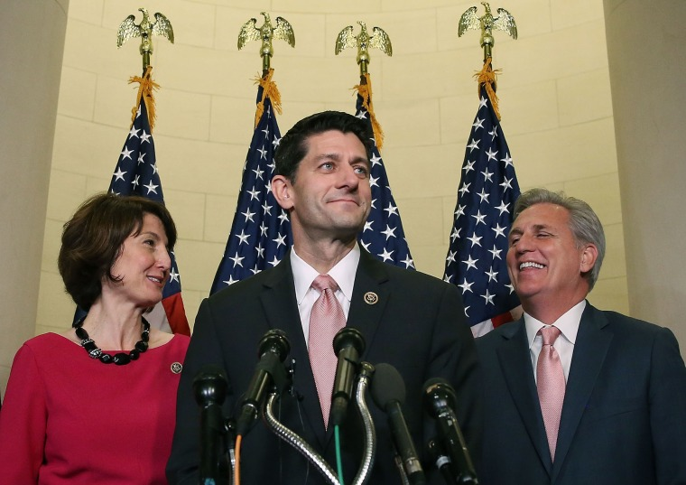 Rep. Paul Ryan speaks to media while flanked by House Majority Leader Kevin McCarthy and Chairman of the House Republican Conference Rep. Cathy McMorris Rodgers after being nominated for Speaker of the House, Oct. 28, 2015. (Photo by Mark Wilson/Getty)