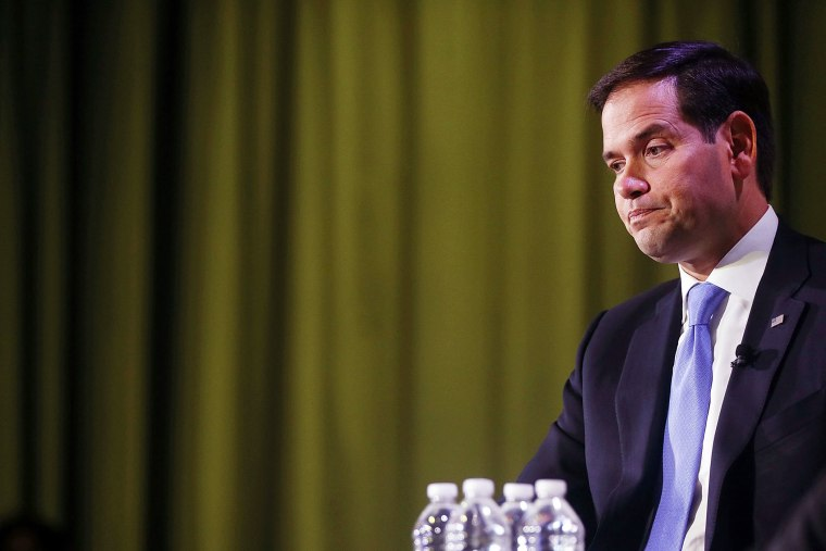 """Republican presidential candidate, Sen. Marco Rubio (R-FL) speaks at Civic Hall about the \""""sharing economy\"""" on Oct. 6, 2015 in New York City. (Photo by Spencer Platt/Getty)"""
