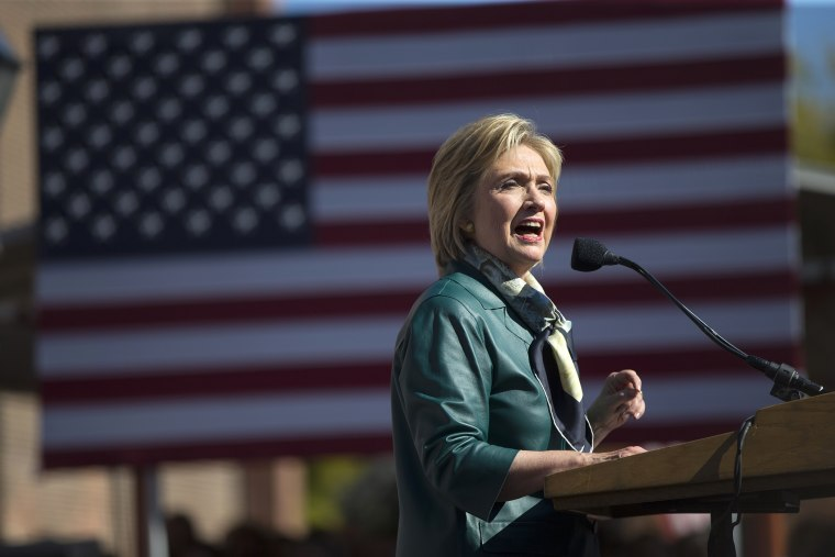 Democratic presidential candidate, former Secretary of State Hillary Rodham Clinton speaks during a campaign rally, Oct. 23, 2015, in Alexandria, Va. (Photo by Evan Vucci/AP)