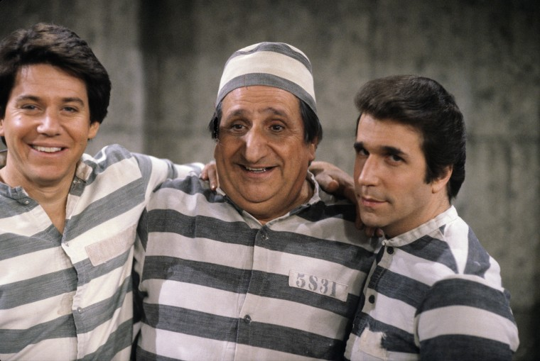 Anson Williams, Al Molinaro and Henry Winkler on Happy Days, May 26, 1981. (Photo courtesy of ABC/Getty)