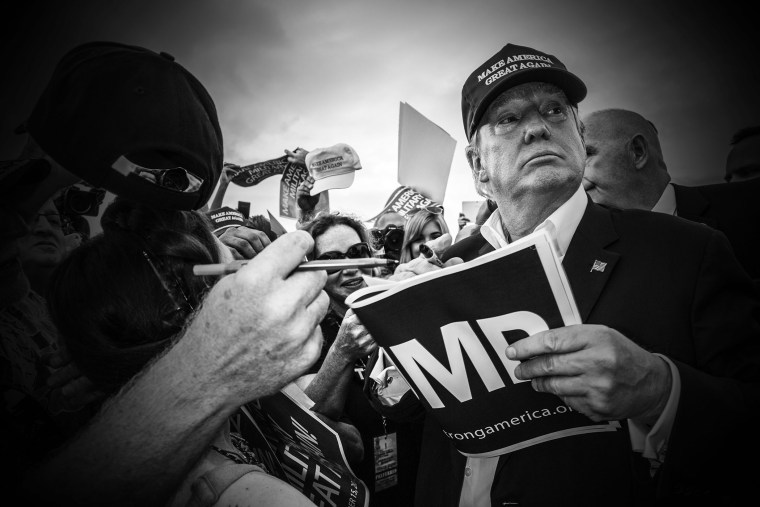 "Republican presidential candidate Donald Trump is seen at his ""Make America's Military Great Again"" rally, which was held aboard the retired USS Iowa battleship, in Los Angeles, Calif., on Sept. 15, 2015. (Photo by Mark Peterson/Redux for MSNBC)"