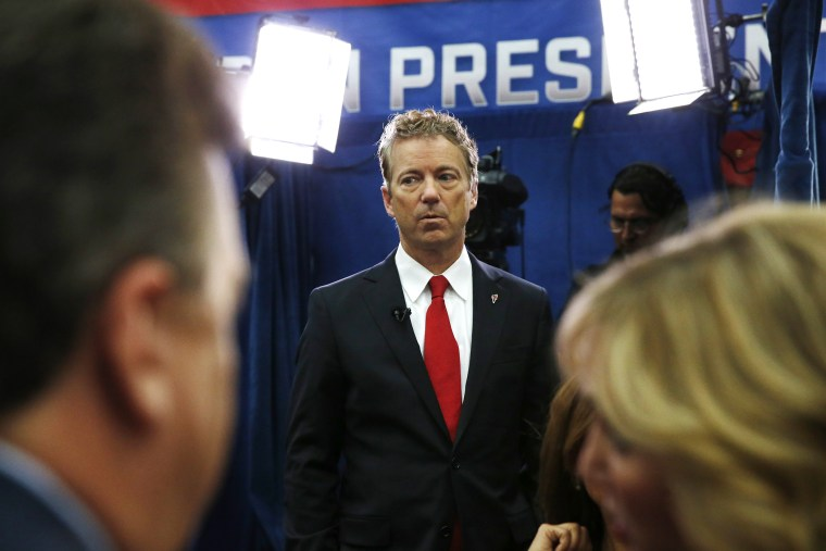 Rand Paul pauses after an interview in the spin room following the CNBC Republican presidential debate at the University of Colorado, Oct. 28, 2015, in Boulder, Colo. (Photo by Brennan Linsley/AP)