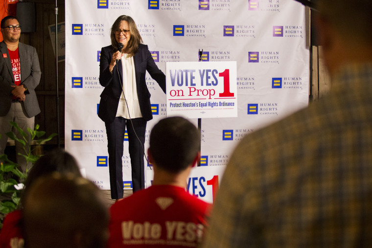 Actress Sally Field speaks to staff and volunteers of Human Rights Campaign in Houston Oct. 28, 2015. (Photo by Michael Stravato/AP)