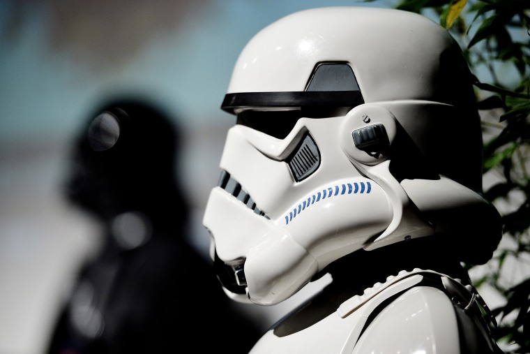 The costume of an imperial stormtrooper is pictured. (Photo by Sascha Steinbach/Getty)