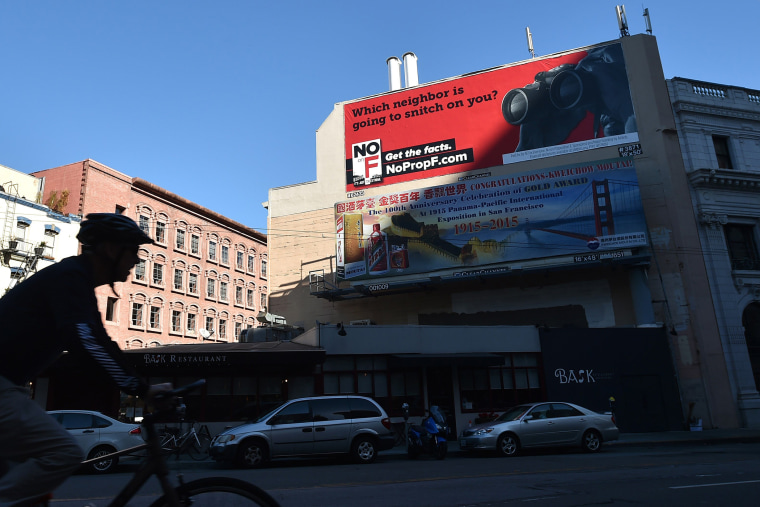 A billboard funded by Airbnb shows opposition to Proposition F in downtown San Francisco, Calif., on Nov. 3, 2015. (Photo by Josh Edelson/AFP/Getty)