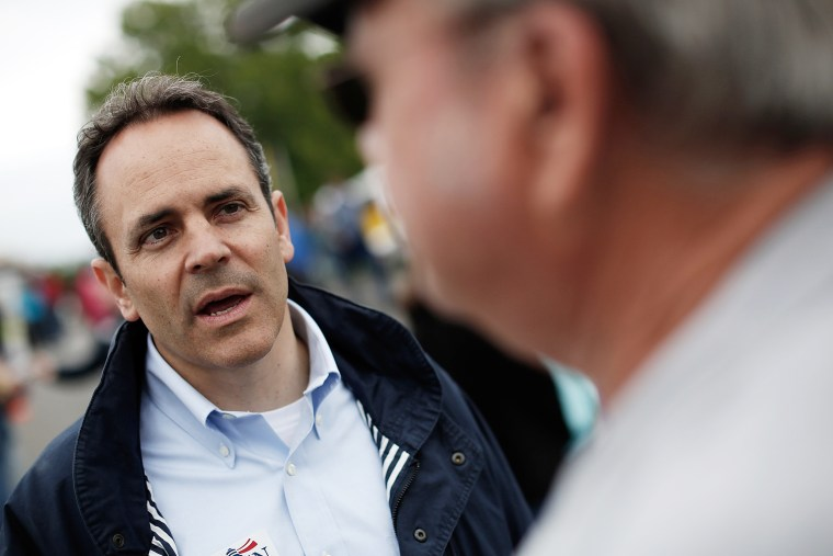 Matt Bevin talks with voters on May 17, 2014 in Fountain Run, Ky. (Photo by Win McNamee/Getty)