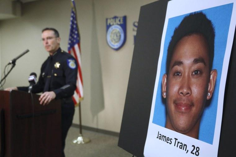 Sacramento Police Chief Sam Somers Jr., left, announces the arrest of James Tran on Nov. 4, 2015. (Photo by Rich Pedroncelli/AP)