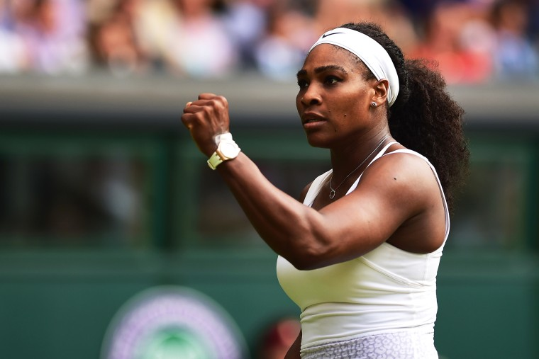 Serena Williams celebrates a point during her match on day five of the Wimbledon Lawn Tennis Championships at the All England Lawn Tennis and Croquet Club on July 3, 2015 in London, England. (Photo by Shaun Botterill/Getty)