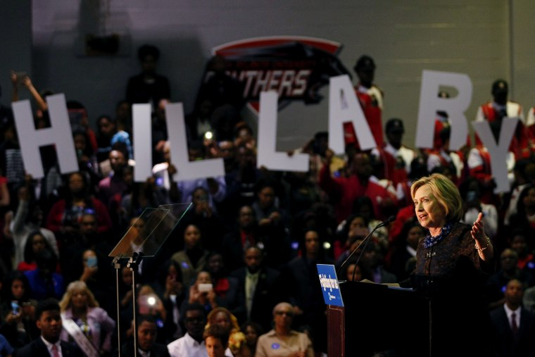 """U.S. Democratic presidential candidate Hillary Clinton speaks at the \""""African Americans for Hillary\"""" rally at Clark Atlanta University in Atlanta, Ga., Oct. 30 2015. (Photo by Tami Chappell/Reuters)"""