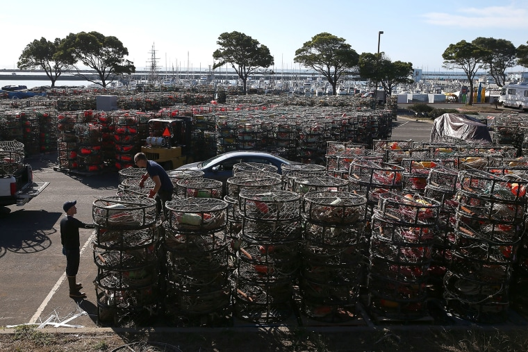 Nick White and Chris Swim stack crab traps in the parking lot of the Pillar Point Harbor on Nov. 5, 2015 in Half Moon Bay, Calif. (Photo by Justin Sullivan/Getty)
