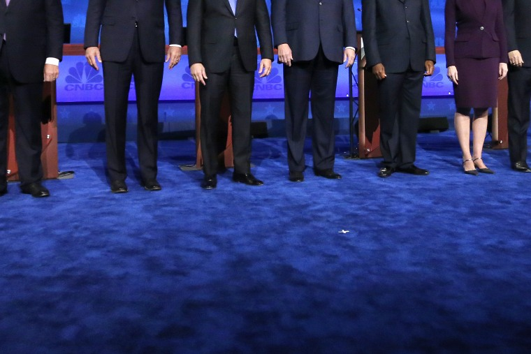 Republican presidential candidates take the stage during the CNBC Republican presidential debate at the University of Colorado, Oct. 28, 2015, in Boulder, Colo. (Photo by Brennan Linsley/AP)