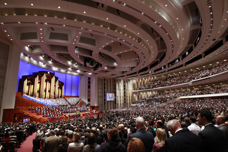Members of the Church of Jesus Christ of Latter-day Saints attend the 185th Semiannual General Conference of the Mormon Church last month in Salt Lake City, Utah. (Photo by George Frey/Getty)