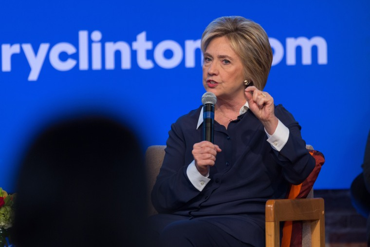 Democratic presidential candidate Hillary Clinton responds to an audience question during a discussion at Claflin University on Nov. 7, 2015 in Orangeburg, S.C. (Photo by Richard Ellis/Zuma)