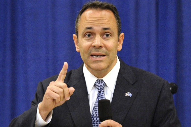 Kentucky Governor-elect Matt Bevin responds to a question during a press conference in the Kentucky State Capitol Rotunda, Nov. 6, 2015, in Frankfort, Ky. (Photo by Timothy D. Easley/AP)