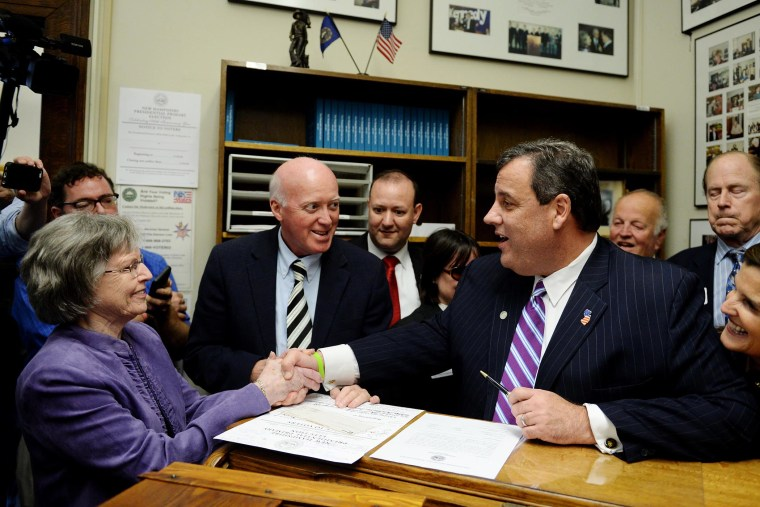 Republican Presidential candidate Chris Christie (R-NJ) files paperwork for the New Hampshire primary at the State House Nov. 6, 2015 in Concord, N.H. (Photo by Darren McCollester/Getty)