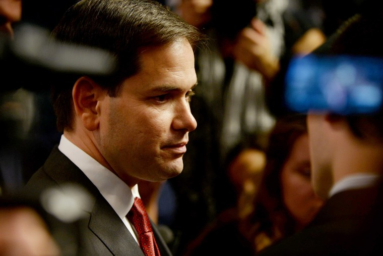 Republican Presidential candidate Marco Rubio (R-FL) meets people following a round table discussion at Saint Anselm College in Manchester, N.H. (Photo by Darren McCollester/Getty)