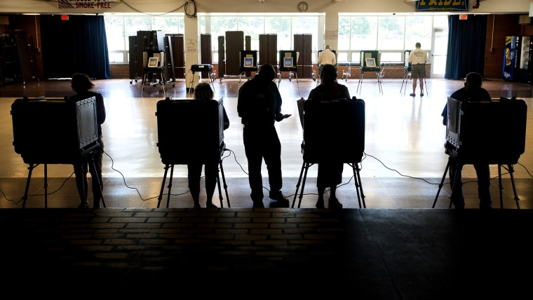 A steady stream of voters cast ballots during the primary in the Walkersville Middle School cafeteria June 24, 2014 in Walkersville, MD. (Photo by Katherine Frey/The Washington Post)