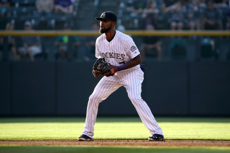 Shortstop Jose Reyes #7 of the Colorado Rockies plays defense during a game on Aug. 4, 2015 in Denver, Colo. (Photo by Doug Pensinger/Getty)