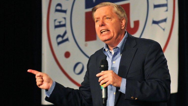 Republican presidential candidate Sen. Lindsey Graham (R-SC) speaks at the Growth and Opportunity Party, at the Iowa State Fair Oct. 31, 2015 in Des Moines, Iowa. (Photo by Steve Pope/Getty)