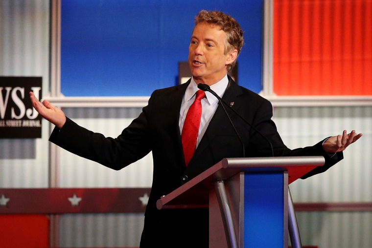 Republican presidential candidate U.S. Sen. Rand Paul (R-KY) speaks during the Republican Presidential Debate sponsored by Fox Business and the Wall Street Journal at the Milwaukee Theatre on Nov. 10, 2015 in Milwaukee, Wis. (Photo by Scott Olson/Getty)
