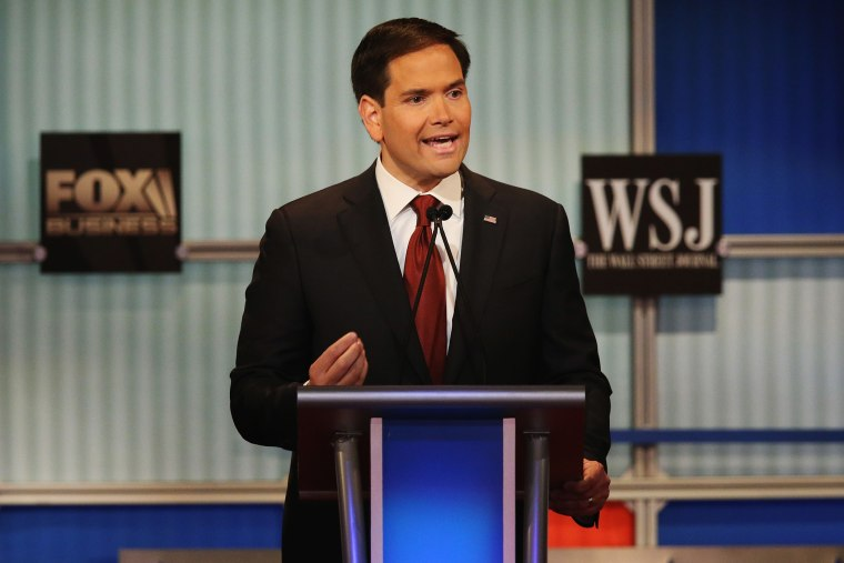 Presidential candidate Republican Sen. Marco Rubio (R-FL) speaks during the Republican Presidential Debate sponsored by Fox Business and the Wall Street Journal at the Milwaukee Theatre Nov. 10, 2015 in Milwaukee, Wis. (Photo by Scott Olson/Getty)