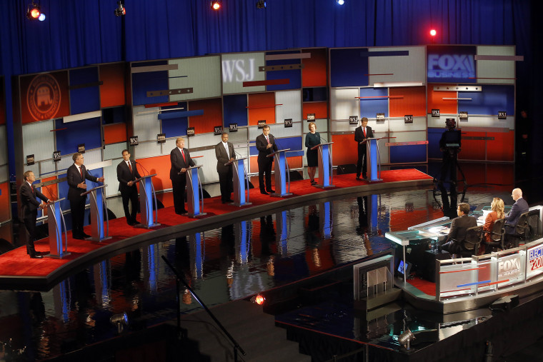 Republican presidential candidates appear during Republican presidential debate at Milwaukee Theatre, Nov. 10, 2015, in Milwaukee. (Photo by Morry Gash/AP)