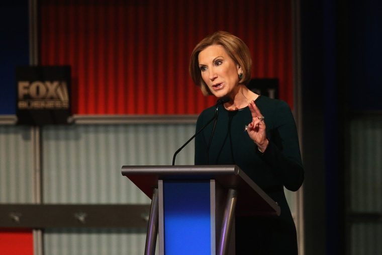 Republican presidential candidate Carly Fiorina speaks during the Republican Presidential Debate on Nov. 10, 2015 in Milwaukee, Wis. (Photo by Scott Olson/Getty)