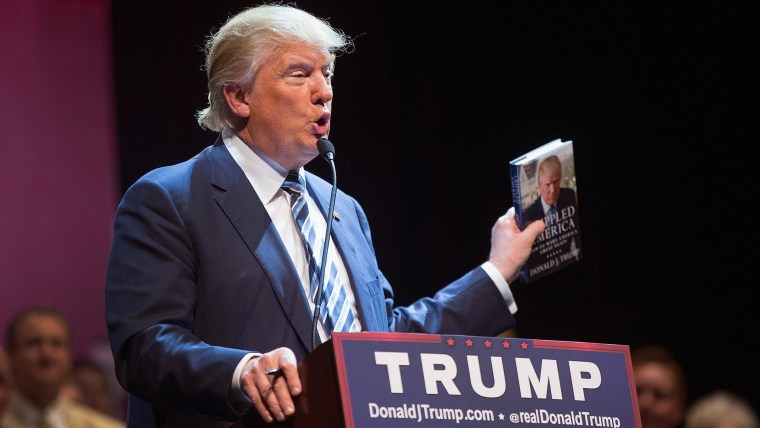 Republican presidential candidate Donald Trump talks about his book during a campaign stop at Iowa Central Community College on Nov. 12, 2015 in Fort Dodge, Iowa. (Photo by Scott Olson/Getty)