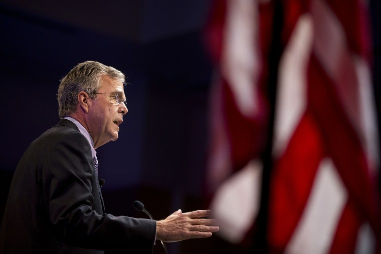 Republican presidential candidate Jeb Bush speaks at the RedState Gathering, Aug. 8, 2015, in Atlanta, Ga. (Photo by David Goldman/AP)