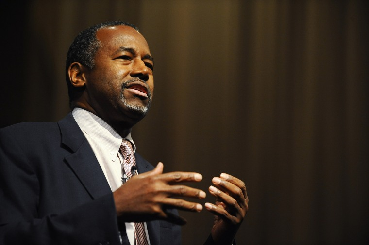 Republican Presidential candidate Dr. Ben Carson speaks during a town hall event at Bob Jones University, Nov. 13, 2015, in Greenville, S.C. (Photo by Rainier Ehrhardt/AP)