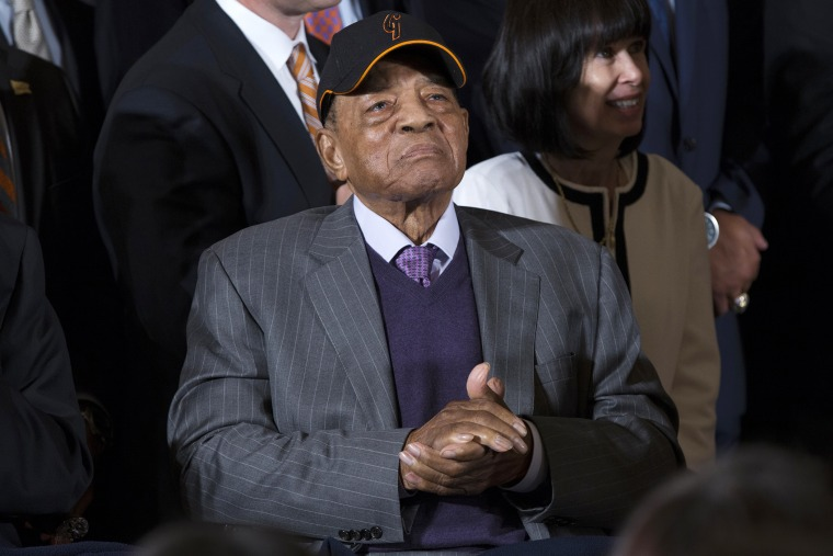 San Francisco Giants Hall of Fame baseball player Willie Mays listens to President Barack Obama in the East Room of the White House in Washington, June 4, 2015. (Photo by Evan Vucci/AP)