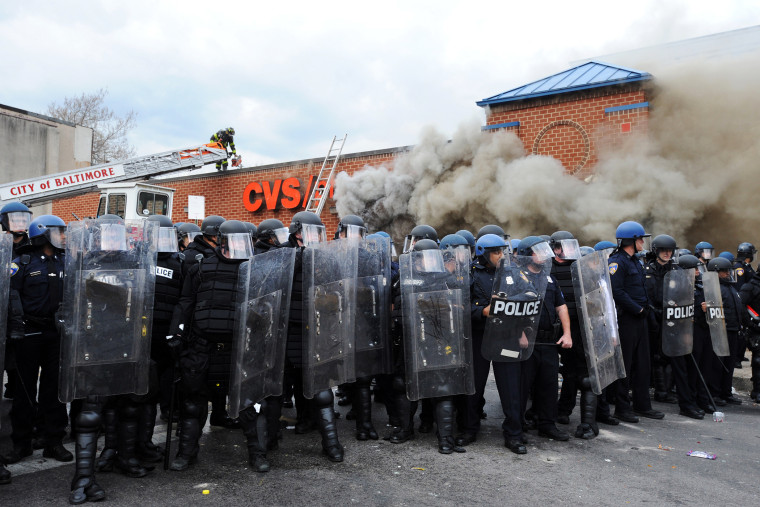 Looting and rioting broke out at North and Pennsylvania Avenues where a CVS was set on fire in Baltimore, Md., April 27, 2015. (Photo by Algerina Perna/TNS/ZUMA Wire)