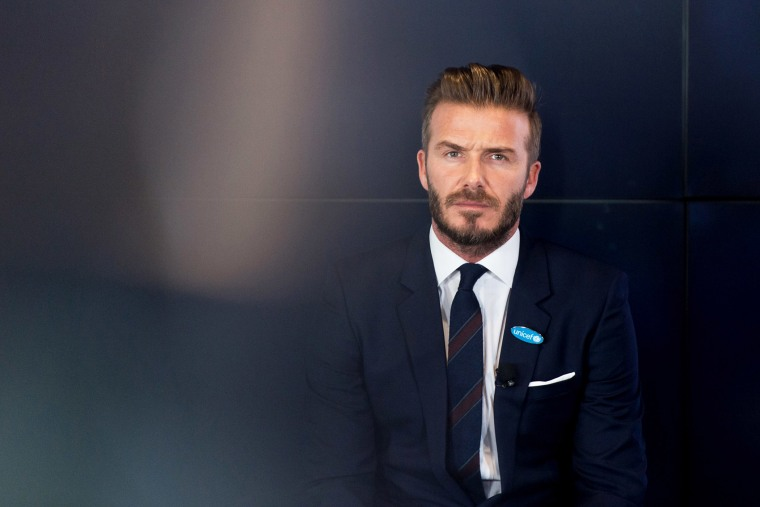 David Beckham attends a photocall as he celebrates 10 years as a UNICEF goodwill ambassador at Google HQ on Feb. 9, 2015 in London, England. (Photo by Ian Gavan/Getty)