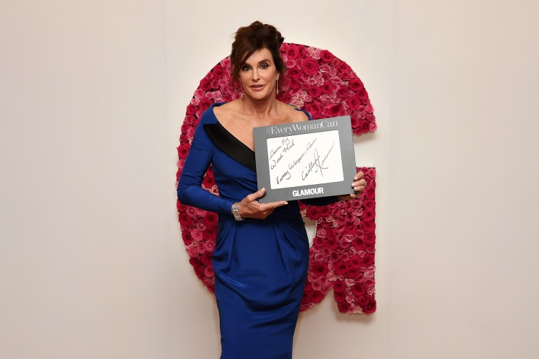 Caitlyn Jenner poses for a photo at the backstage inspiration wall at the 2015 Glamour Women of the Year Awards at Carnegie Hall on Nov. 9, 2015 in New York City. (Photo by Nicholas Hunt/Getty)