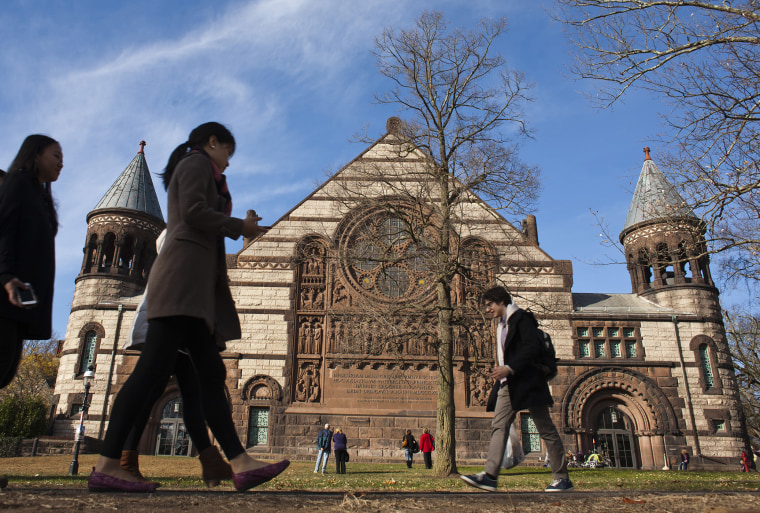 People walk around the Princeton University campus, N.J., Nov. 16, 2013. (Photo by Eduardo Munoz/Reuters)