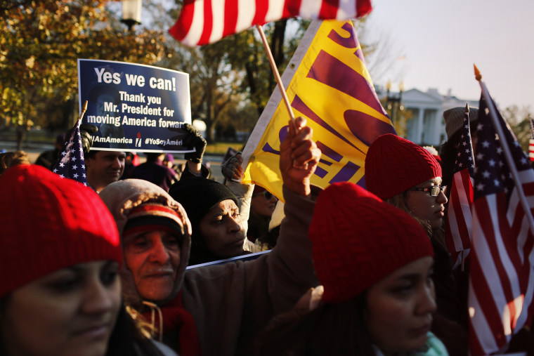 Hundreds of immigrants and supporters gather outside of the White House on Nov. 21, 2014 to thank President Barack Obama for his actions on immigration. (Photo by Oliver Contreras/Zuma)