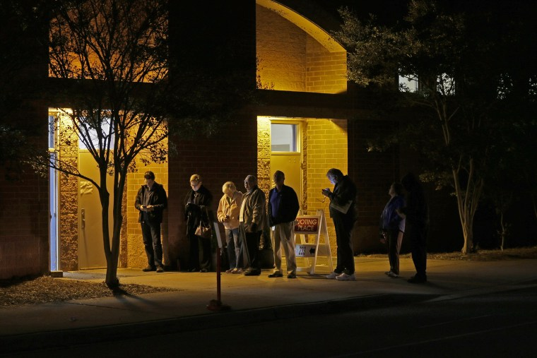 A handful of people wait in line before the polling place at Elizabeth Lane Elementary school opens for voting in Matthews, N.C., Nov. 4, 2014. (Photo by Chuck Burton/AP)
