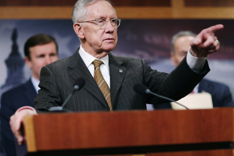 Senate Minority Leader Harry Reid (D-NV) takes questions from reporters during a news conference about Democratic legislative proposals at the U.S. Capitol Nov. 19, 2015 in Washington, DC. (Photo by Chip Somodevilla/Getty)
