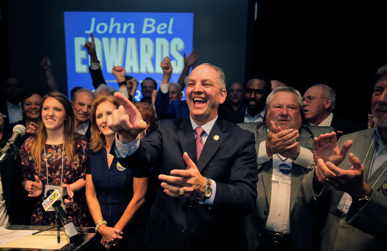 Democratic state Rep. John Bel Edwards addresses supporters at the Lyceum Dean Ballroom in Baton Rouge, La., Oct. 24, 2015, after advancing to a runoff in the Louisiana governor's race. (Photo by Ted Jackson/NOLA.com /The Times-Picayune/AP)