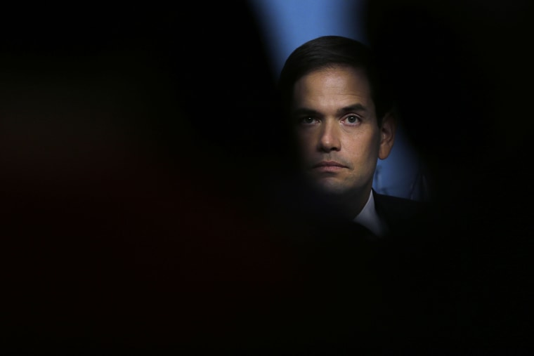Republican presidential candidate Sen. Marco Rubio, R-Fla. during a campaign event at Saint Anselm College in Manchester, N.H., Nov. 4, 2015. (Photo by Charles Krupa/AP)