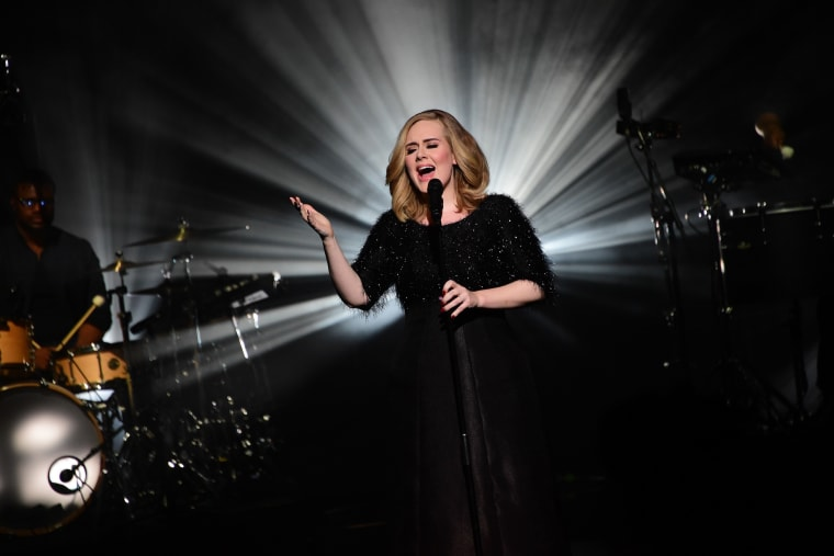 Adele performs at the 17th NRJ Music Awards ceremony in Cannes, France on Nov. 7, 2015. (Photo by Ghnassia/NMA2016/SIPA/AP)