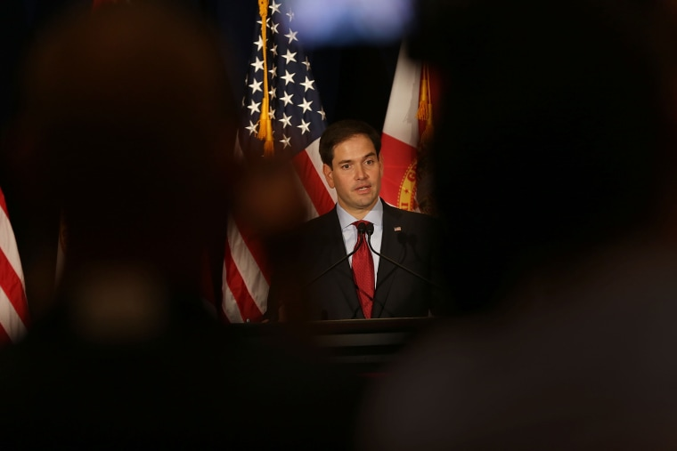 Republican presidential candidate Sen. Marco Rubio (R-FL) speaks to the media as he attends the Sunshine Summit conference on Nov. 13, 2015 in Orlando, Fla. (Photo by Joe Raedle/Getty)