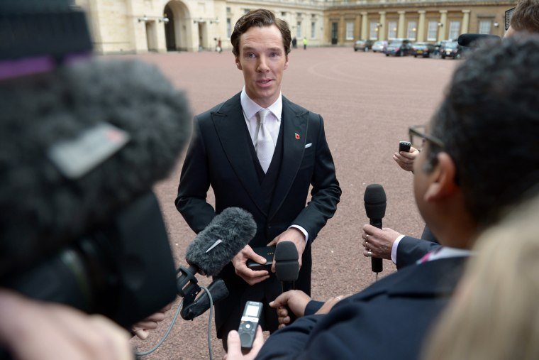 Actor Benedict Cumberbatch speaks to the media on Nov. 10, 2015 in London, England. (Photo by Anthony Devlin /WPA Pool/Getty)