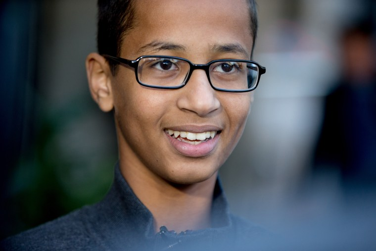 In this Oct. 19, 2015, file photo, Ahmed Mohamed, the 14-year-old who was arrested at MacArthur High School in Irving, Texas, after a homemade clock he brought to school was mistaken for a bomb, speaks during an interview in Washington. (Andrew Harnik/AP)