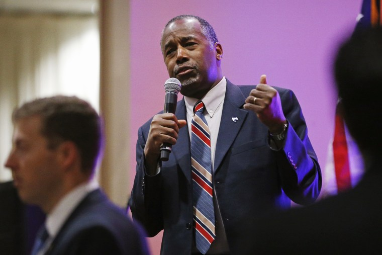 Republican presidential candidate, Dr. Ben Carson speaks at a rally, Nov. 23, 2015, in Pahrump, Nev. (Photo by John Locher/AP)