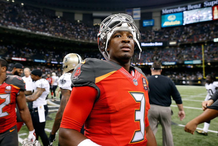 Jameis Winston #3 of the Tampa Bay Buccaneers leaves the field following a victory over the New Orleans Saints on Sept. 20, 2015 in New Orleans, La. (Photo by Wesley Hitt/Getty)
