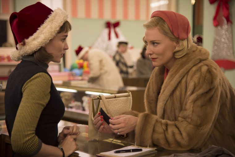 "This photo provided by The Weinstein Company shows, Rooney Mara, left, as Therese Belivet, and Cate Blanchett, as Carol Aird, in a scene from the film, ""Carol."" (Photo by Wilson Webb/The Weinstein Company/AP)"