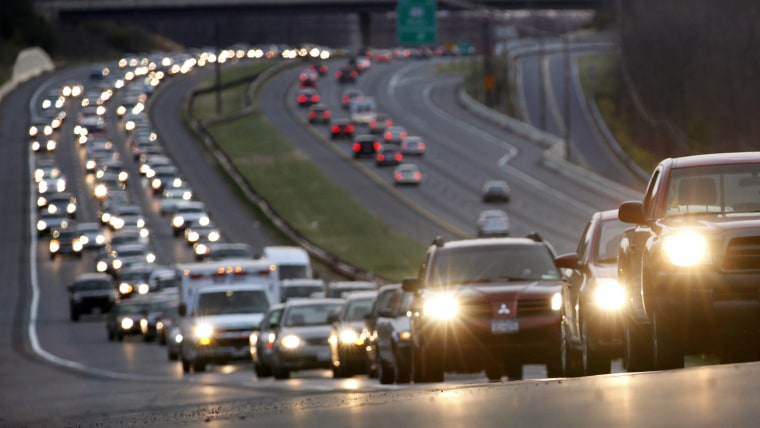 Traffic moves north along Interstate 270, Nov. 24, 2010, in Clarksburg, Md., the day before the Thanksgiving Holiday. (Photo by Carolyn Kaster/AP)